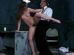 Have fun with this amazing scene where the beautiful Dani Daniels is fucked silly by a large cock after sucking on it.