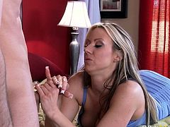 Horny and attractive blond haired pretty babe with nice boobs gets her dripping pussy licked and blows a cock. Have a look at this bitch in Brazzers Network sex video.