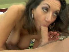 Amazing darkhaired mature Persia Monir licks the cock