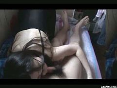 Really cute black haired tee from Korea shows off her juicy ass in tight black nylon pantyhose. Cutie gives blowjob and gets her Asian pussy boned doggystyle.