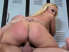 Prepare your cock for this blonde cougar, with a nice ass and big jugs, while she goes hardcore with a tattooed dude and moans loudly.