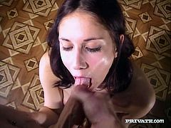 A pleasurable solo girl takes off clothes seductively and then drops to her knees. Belicia gives a nice blowjob in a POV video and gets her mouth filled with cum.