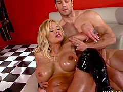 Extremely sexy and hot blond haired busty babe with nice ass gets her dripping pussy fucked hard missionary. Have a look at this whore in Brazzers Network sex video.