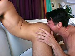 Two dudes with big dicks give a blowjob and a rimjob to each other. Then the brunette guy gets his butt fucked by a blond one.
