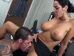 All that hard work got busty milf horny and more than eager to fuck with her strong office colleague