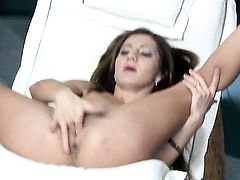 Alice Romain with giant boobs and bald twat masturbates with wild desire