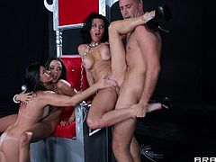 Busty moms have a foursome with a large cock
