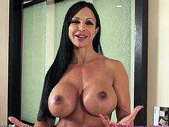 Raven haired mom with gorgeous DD boobs and tight butt Jewels Jade teasingly takes off her slutty clothes exposing her lady parts. Babe plays with her big jiggly tits and fondles her shaved cunt with both hands.