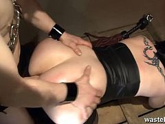 Horny BBW slut is about to get captured by her master. He uses some anal beads to penetrate her asshole and soon makes her to suck his cock in the dungeon.