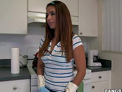 Charming slim chick Isabella Taylor is a sexy sexy maid that is proud of her beautiful ass. She pulls off her jeans in the kitchen and exposes her bottom without taking off her tiny panties.