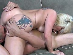 Have fun jerking off to this hardcore scene where the gorgeous blonde Dayna Vendetta shows off her big natural tits before sucking and riding a big cock.
