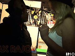 Curvaceous blonde hottie perform super hot pole dancing show. She then fondles her pussy while sitting on a couch in front of the camera. Horny black ass dude thrusts BBC in her mouth so she sucks big rod balls deep.