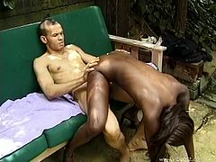 Check this ebony doll, with a nice butt and natural breasts, while she goes hardcore in different positions after serving a yummy blowjob.