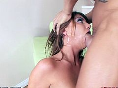 Cassandra Nix has has the mouth every guy want to fuck. She is so horny! All you want to do is to grab her by the ears and shove your cock straight down her throat until she spits up on your dick.