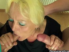 This old teacher has a plan for her two good looking young students. She spank them hard for how naughty they are and seduced them to let her suck those young dicks.