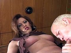 That bitchy light haired lady boy lies with her legs spread apart and goes crazy about watching that guy blowing her small cock greedily.Watch that steamy TS oral sex in Fame Digital porn clip!