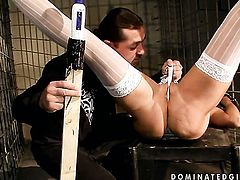 Blonde Winnie loves the way her sex partner moves his rod up and down inside her muff