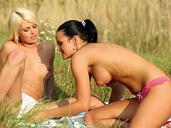 Get a load of this amazing lesbian scene where these naughty teens have fun outdoors where no one's able to see them.