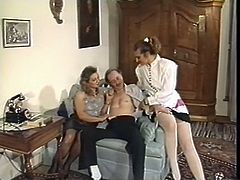 Curly and fair haired whorish wenches spent hot fuck time in bar. One kinky bitch posed on bar counter. Her busty pal sat on floor and presented her hot fingerfuck. Meanwhile jerking off staff cock of one freak. Just watch that steamy 4 some in The Classic Porn sex clip!
