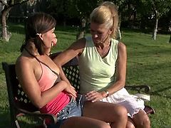 His Mommy brings you a hell of a free porn video where you can see how this horny blonde mature seduces a kinky brunette teen while assuming some very naughty poses.