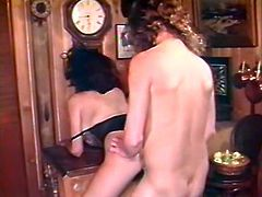 Black haired whorish lassie with sexy tight button got her sweet vagina pleased in mish pose on table. Later she got presented hard doggy pose fuck. Look at that steamy fuck in The Classic Porn sex clip!