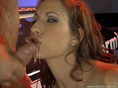 Check out this hardcore scene where the beautiful Sophie Evans is fucked by this guy before he cums in her mouth.