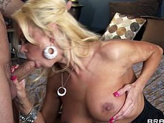 Make sure you take a look at this hardcore scene where these two busty moms share this stud's large cock in a threesome that leaves them splattered by warm semen.