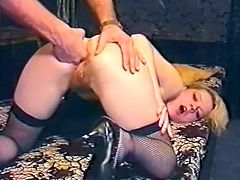 Blond haired palatable bitch in sexy stockings gets her ever hungry asshole pleased in doggy pose by hard penis of that dude. Watch that steamy anal fuck in The Classic Porn sex clip!