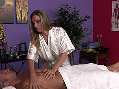 Massage along Devon Lee is close to getting really hot as hottie needs to suck on the guy's dick