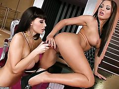 Aletta Ocean with huge breasts and Angelica Heart make lesbian love