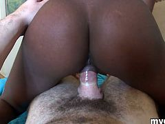 Take a look at this hot POV scene where this gorgeous ebony babe sucks on this guy's cock before getting fucked and facialized.
