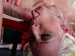 Sexy blonde Stevie Shae shows her bodyart to Johnny Sins and lets him massage her hot body. Then they have ardent oral sex and bang doggy style and in other positions.