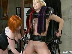 Wasteland brings you a hell of a free porn video where you can see how this alluring ginger dominatrix dildos her blonde slave's pussy in the dungeon while assuming very hot poses.