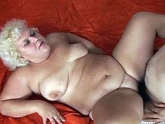 Skanky blonde granny with obese body gives blowjob to her oldman. the old fat whore gets fucked by old cock missionary style.