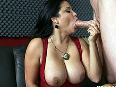 Seductive brunette babe jerks off big dick and licks balls greedily. She is skilled sucking head with bottomless throat. Go for steamy Brazzers sex tube video for free.