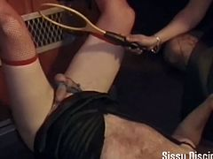 These evil dommes are gonna make your their sissy slave in this nasty free porn video. Watch them abusing and using their slave while flaunting their hot bodies!