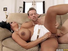Curvy brunette MILF Kiara Mia gets her ass hardcore fucked on the couch by Erik Everhard's huge cock for being a naughty girl.
