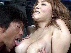 Yuki Touma is a stunning Japanese enchantress with appetizing curves. Her huge tits look good from every angle. Horny dude licks her tits passionately. Then she wants him to eat her sweet snatch.