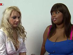 This fat ebony whore has got some of the most massive titties that you'll ever find! Big breasted whore knows that she is driving her GF crazy so she makes her worship her huge tits.