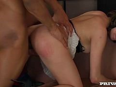 Sassy chick rides BBC upskirt in reverse cowgirl position. She then bends over the chair taking hard dick from behind. Steamy fuck session is filmed by Private studio.