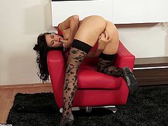 Click to watch this brunette babe, with natural jugs wearing sexy lingerie, while she masturbates with passion until she has an orgasm.