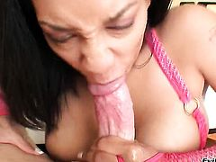Mike Adriano uses his hard meat stick to make blowjob addict Jazmine Cashmere happy