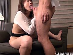 When nasty slut gets cock starved she unzips her lover's pants and puts his dick into her mouth. The sassy slut suck on that penis until she makes him cum.