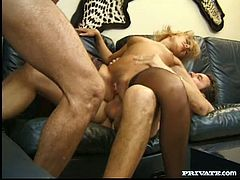 Insatiable mom Sharon is banged brutally in double penetration action