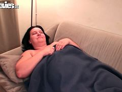 Huge fatty mature Renate Zug is seen waking up in the couch and finding her dildo. I don't know what's the reason I guess she dreamt about hunk men that's why she masturbate after.