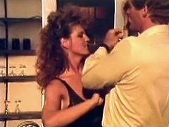 Hungry guy licks wet a bit smelly pussy of fair haired busty tramp