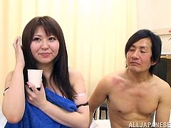 A lovely Japanese babe gets her delicious pussy licked and tits fondled. Then she gets pounded in a missionary and a doggystyle poses.