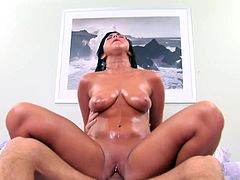 Sexy Cody Lane gets soap all over her big juicy natural boobs and enjoys getting her sweet pussy fucked by a big hard cock.