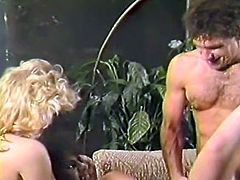 Black haired bitchy slut licked hairy pussy of her blond sexy kooky while being anal fucked in doggy position. Look at that steamy FFM fuck in The Classic Porn sex clip!