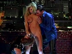 Captivating blonde Vicky Vette is having a great time with two men in MMF clip. Vicky favours the dudes with blowjobs and welcomes their schlongs in her pussy and butt.